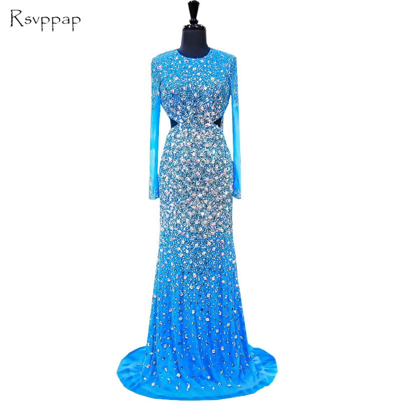 Long   Evening     Dress   2019 Mermaid O-neck Long Sleeve Beaded Crystals Backless Luxury Blue Women Formal   Evening   Gowns