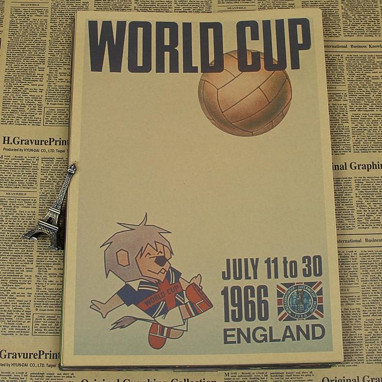 "Large Vintage""England <font><b>World</b></font> <font><b>Cup</b></font> <font><b>1966</b></font>"" Football Poster Home Decoration Detailed Antique Poster Wall Chart Retro Matte Kraft Paper"
