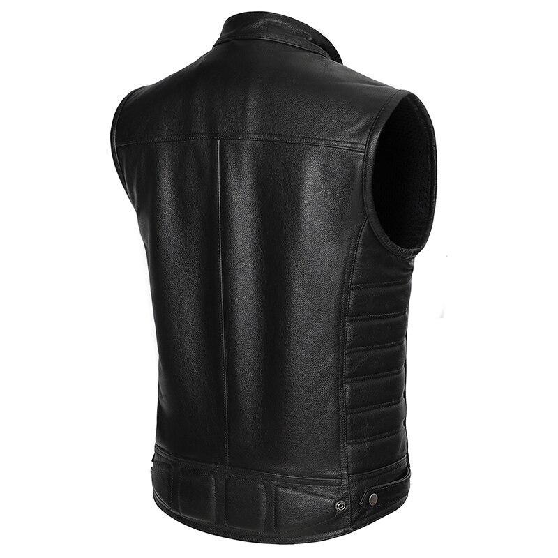 Image 4 - Real Leather Biker Vest Mens Stand Collar Zipper Pockets Motorcycle Vest Jackets Waistcoat Genuine Cow Leather Black SlimGenuine Leather Coats   -