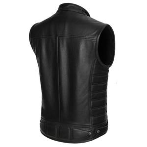 Image 4 - Real Leather Biker Vest Mens Stand Collar Zipper Pockets Motorcycle Vest Jackets Waistcoat Genuine Cow Leather Black Slim