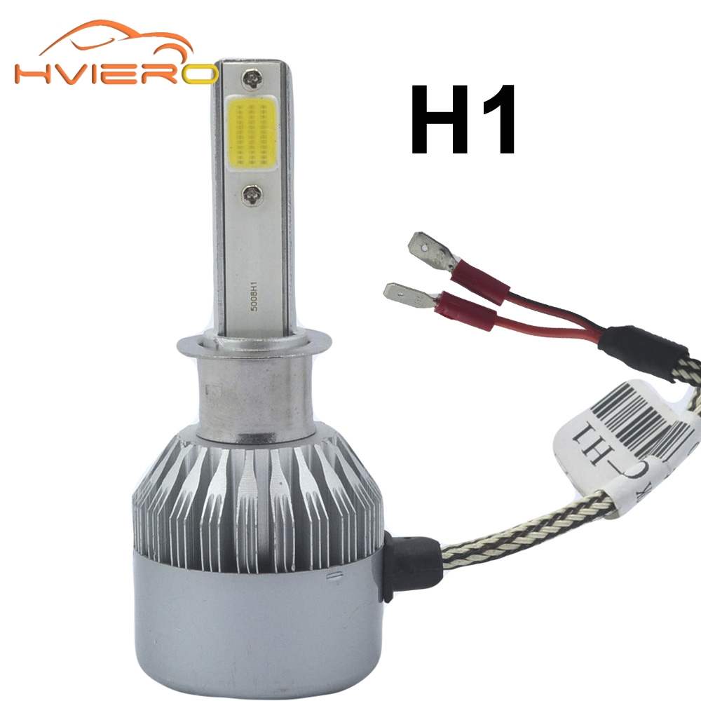 Hiviero Super Bright COB IP65 Car Head lights H1 Car LED 72W 7600lm Auto Front Bulb Automobile Headlamp 6500K Car Lighting 2pcs h1 led automobile headlight car styling 6000k super bright conversion kit auto head lights