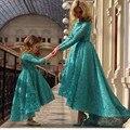 Старинные Кружева Бальное платье Девушки Цветка Платья для Свадеб торжеств и вечеринок На Заказ Платье Мать Дочь Платья