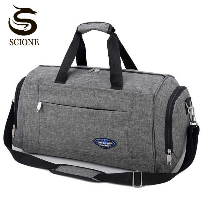 Hot Waterproof Nylon Travel Handbag Men Fashion Carry On Weekend Bags  Vintage casual Duffel Shoulder Bags e829abdcf9583