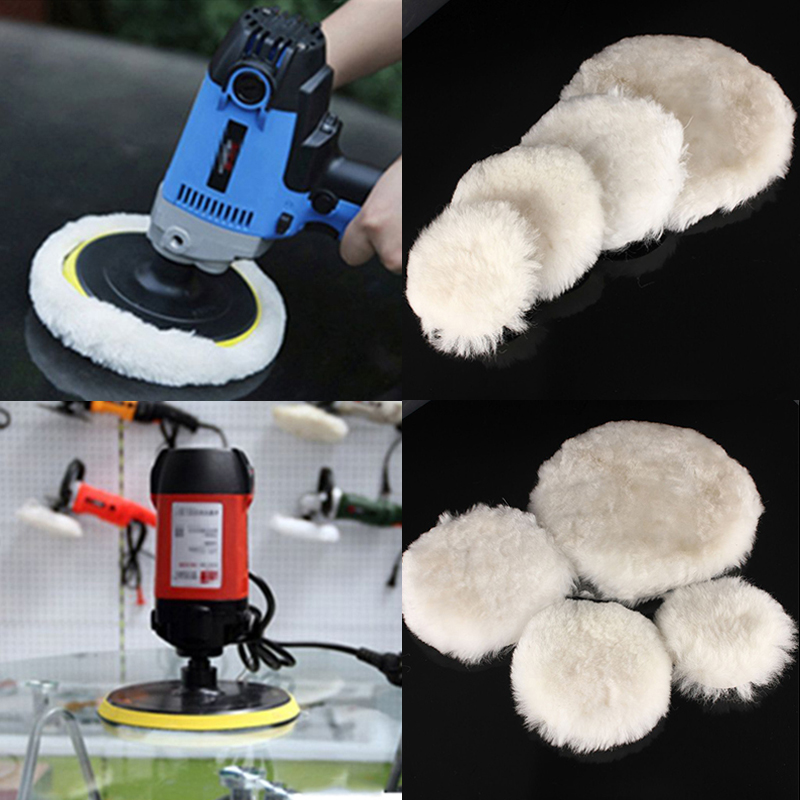 цена на mayitr 2PCS/lot Wool Pads Waxing Polishing Buffing Pad 100/125/180mm Wheel Car Auto Polisher Pads Car paint Care 4/5/7inch