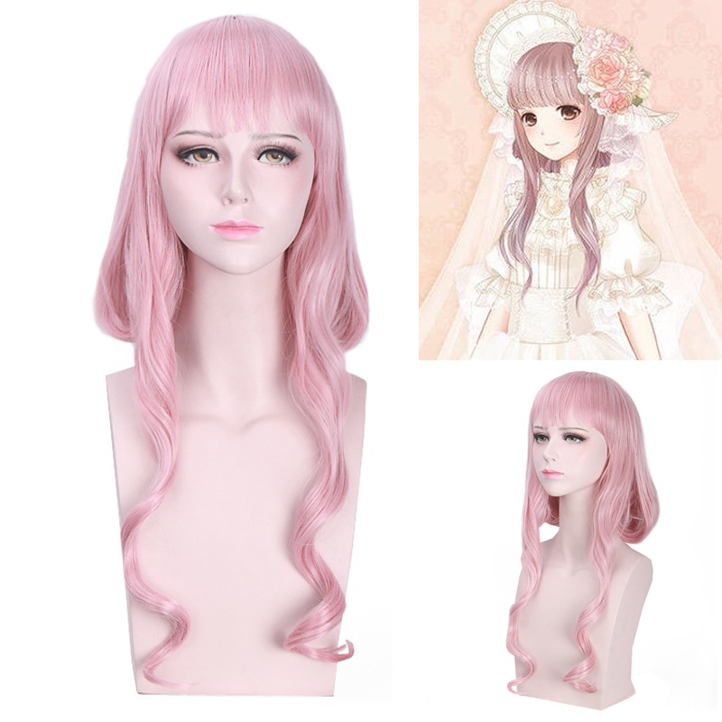 Hot Anime Game Miracle Nikki Cosplay Wig Halloween Play Wig Party Stage High Quality Pink Long Short Curly BoBo Cute Hair