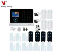 Yobangsecurity сенсорной клавиатурой WiFi GSM GPRS RFID Главная Безопасность Голос Защита от взлома Дым пожарный извещатель двери Открытый IP Камера