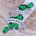 Atraente Criado Verde Esmeralda Branco Topaz 925 Anel de Prata Tamanho 5/6/7/8/9/10/11/12 S0221