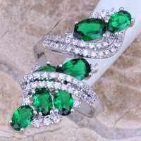 Attractive Green Cubic Zirconia White CZ 925 Sterling Silver Ring Size 5 / 6 / 7 / 8 / 9 / 10 / 11 / 12 S0221