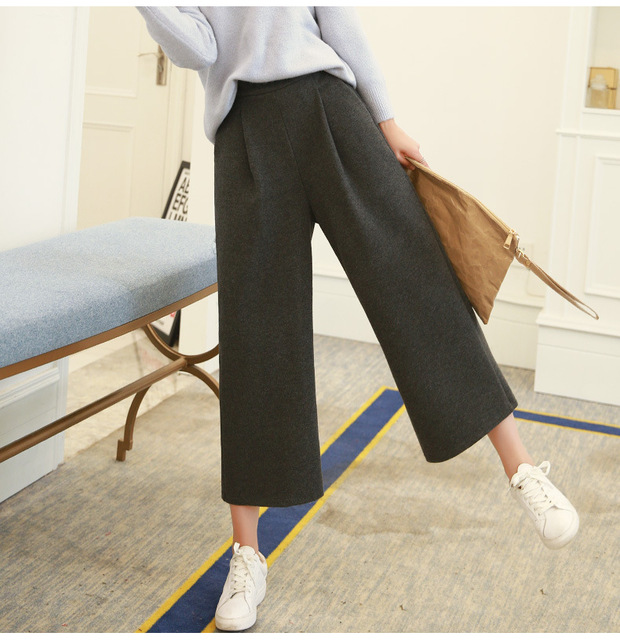 2016 Fashion High Waist Wide Leg Pants Woman Skinny Solid Wide Leg Pants For Women  Ankle-Length Pantswide Leg Pants Women