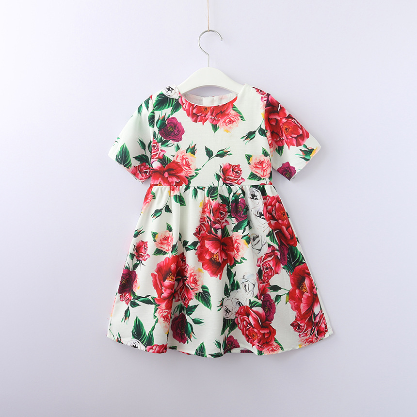 Wholesale Dress Girls Eleghant Subshrubby Peony Flower 2018 Summer Autumn New Children Dresses