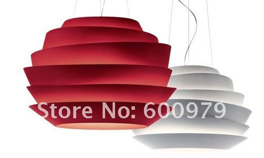 Free shipping Dia 63cm new red Foscarini - Le Soleil Suspension polycarbonate Lamp one piece