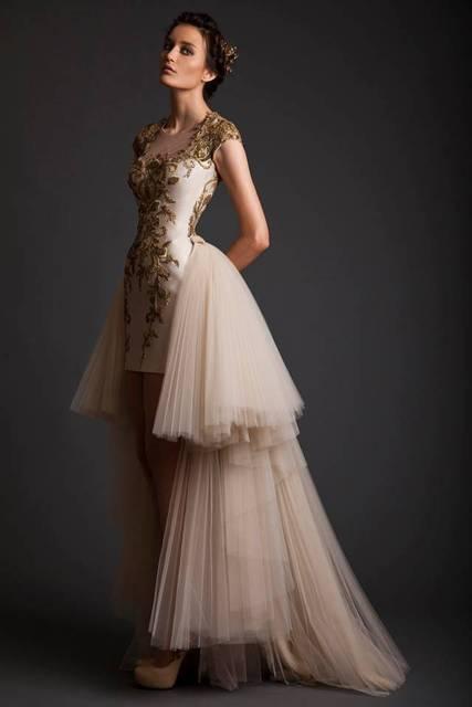 Wedding Dress 2017 Bridal Fashion Gold Embroidered Short Front Long Detachable Train Sheer Back Ons Dresses