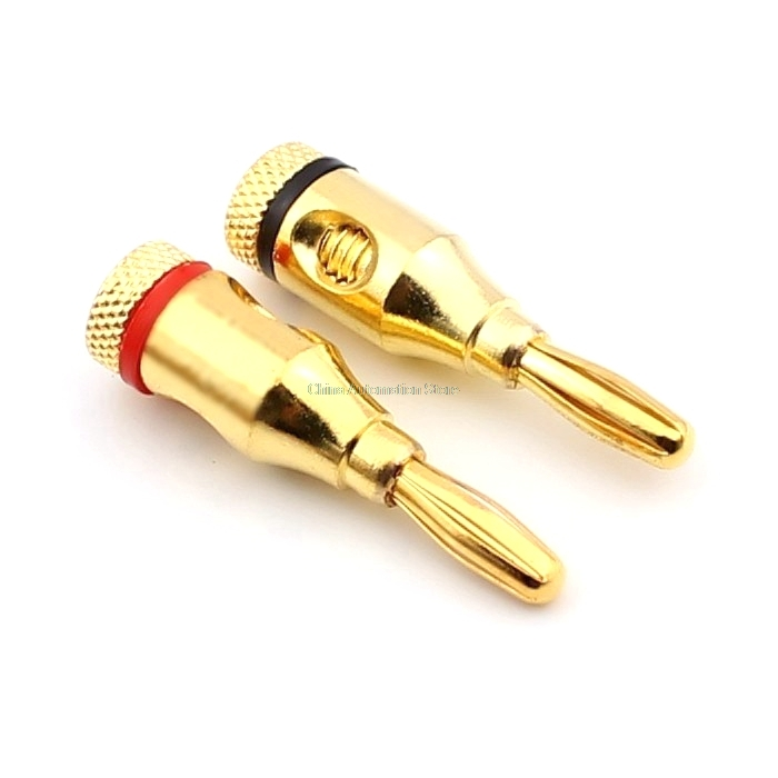 High quality large current copper Gold-plated 4mm banana plug for power amplifier audio system plug 2pcs/lot dc power socket gold plated 3 5 1 3mm vertical strip power plug high quality