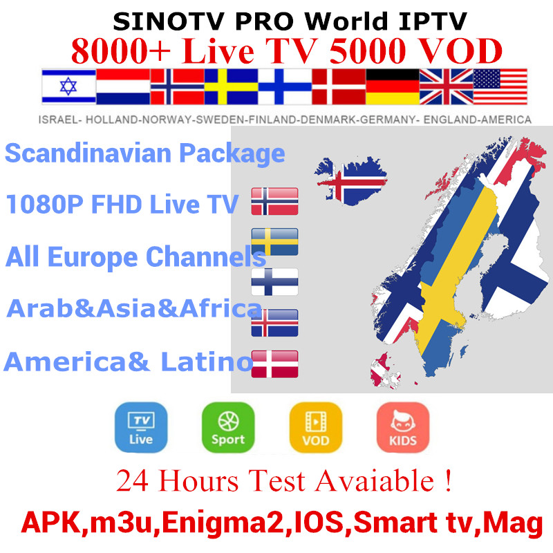 8000 Channels World IPTV Scandinavia Sweden USA Canada French IPTV Latin 1/3/6/12 Month Subscription For M3U Android Smart TV