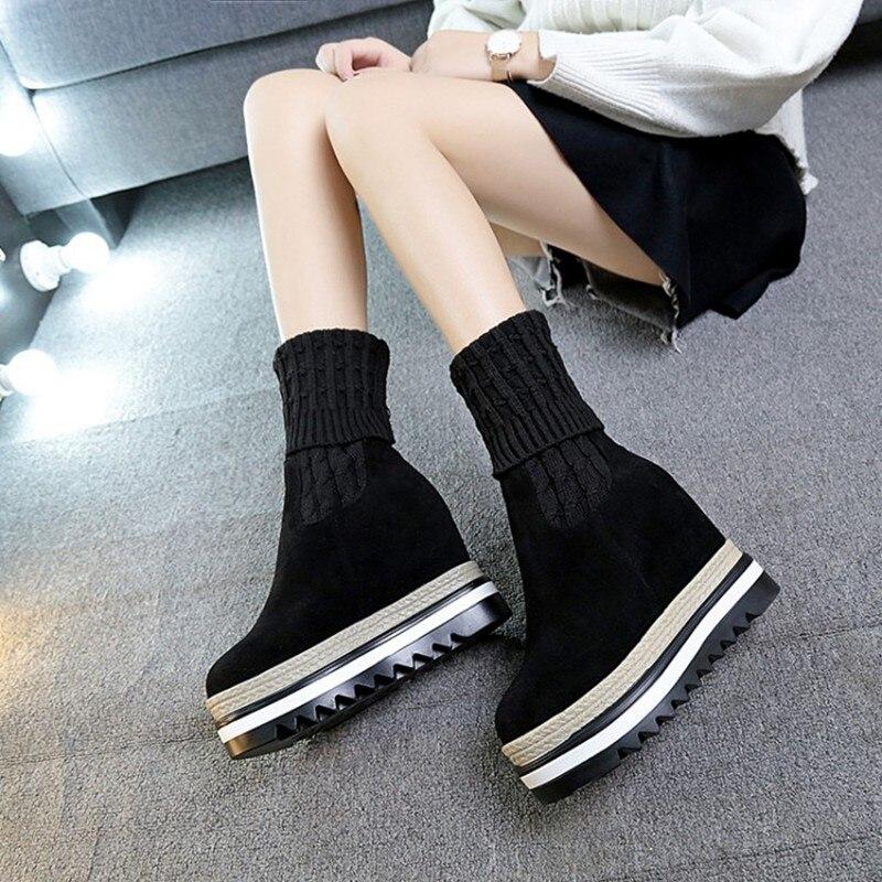 b3e1305598103 COOTELILI Zunehmende Frauen Schuhe 10 cm High Heels Plattform Stiefel  Frauen Slip On Gestrickte Winter Schuhe Stiefel Für