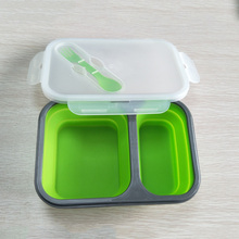 2 Grid Silicone Lunch Box  900ml Microwave Oven Bowl Folding Food  Container Collapsible Portable Lunchbox
