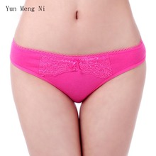 Yun Meng Ni 6pcs/lot Women Cotton Underwear Sexy Panties Plus Size Candy Color Soft Female Briefs Lace Ladies Knickers Whoesale