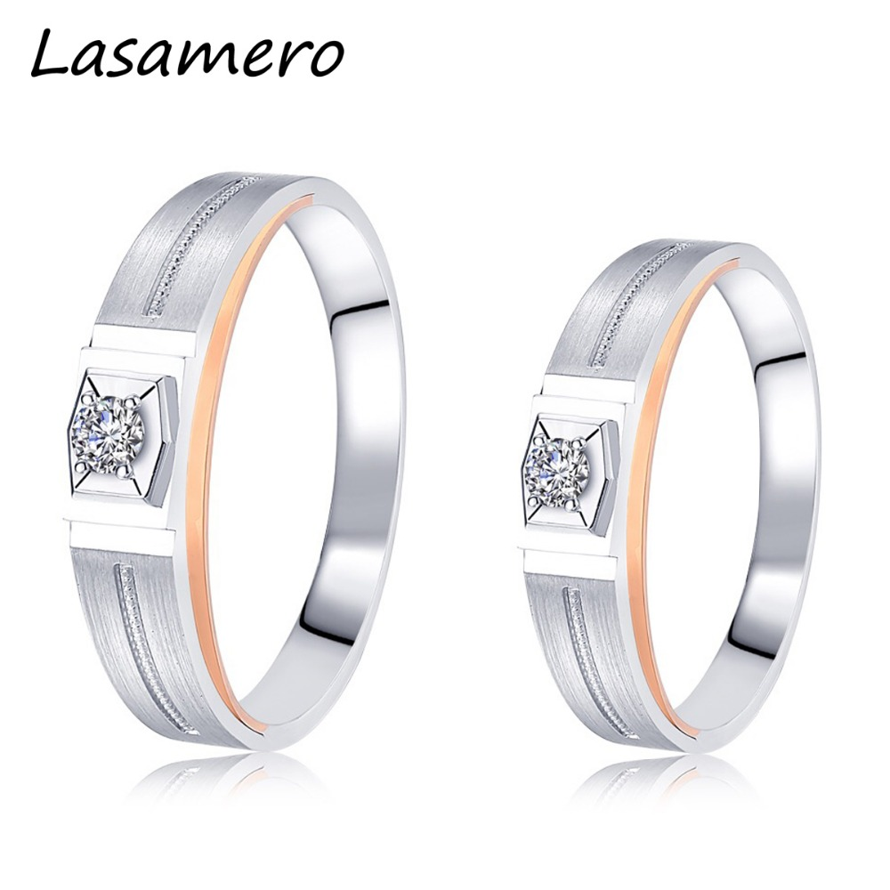 LASAMERO Rings for Men and Women 0.071CT Round Cut Natural Diamond Ring Couple Rings 18k  two tone Gold Engagement Wedding RingLASAMERO Rings for Men and Women 0.071CT Round Cut Natural Diamond Ring Couple Rings 18k  two tone Gold Engagement Wedding Ring