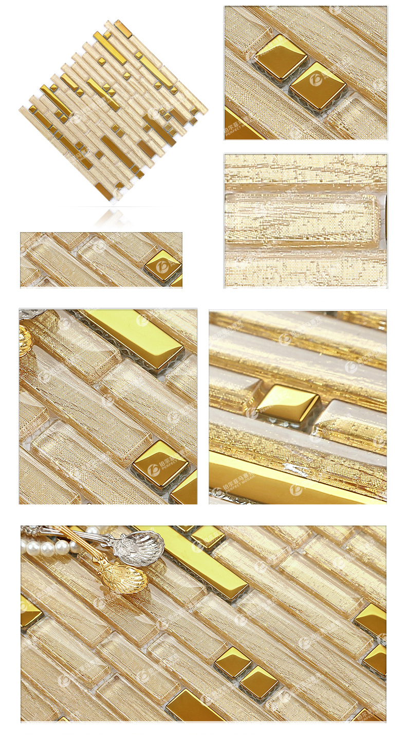 NEW 2015 gold glass tile kitchen backsplash mosaic tiles art ...