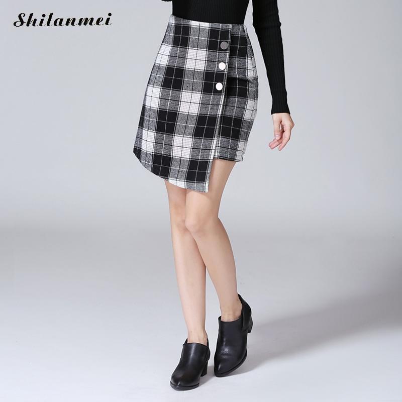 Winter Skirts Womens 2017 Fall Autumn New Design Fashion Girl Plus Size Button High Waist Short Mini Pleated Plaid Skirt