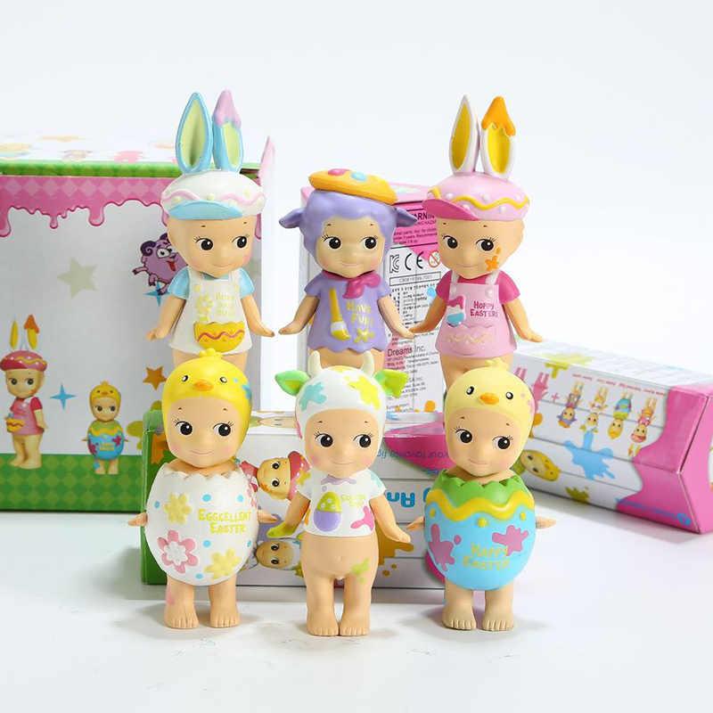 6 pçs/set Sonny Anjo Mini Figura 2018 Versão Feliz Páscoa Série Ação PVC Figures Toys Dolls Presente para As Crianças Crianças