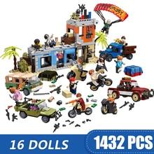1432 шт., маленькие строительные блоки, совместимые с Legoe, игра PUBG, теплая пустыня, Miramar, игрушки для детей, подарок для девочек и мальчиков, сделай сам