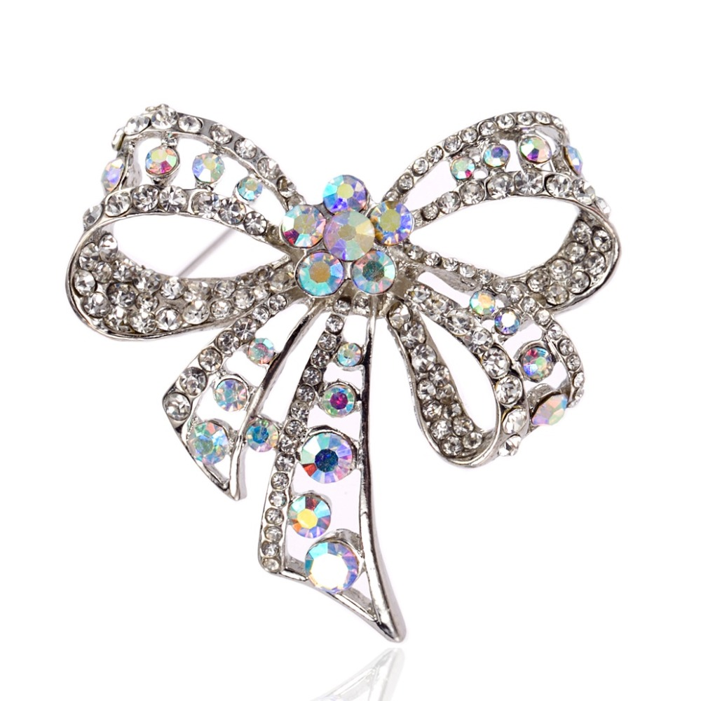 Rhodium Silver Plated Crystal Rhinestone Diamante Large Bow Bling Switch Wiring Diagram Design Party Pin Brooch