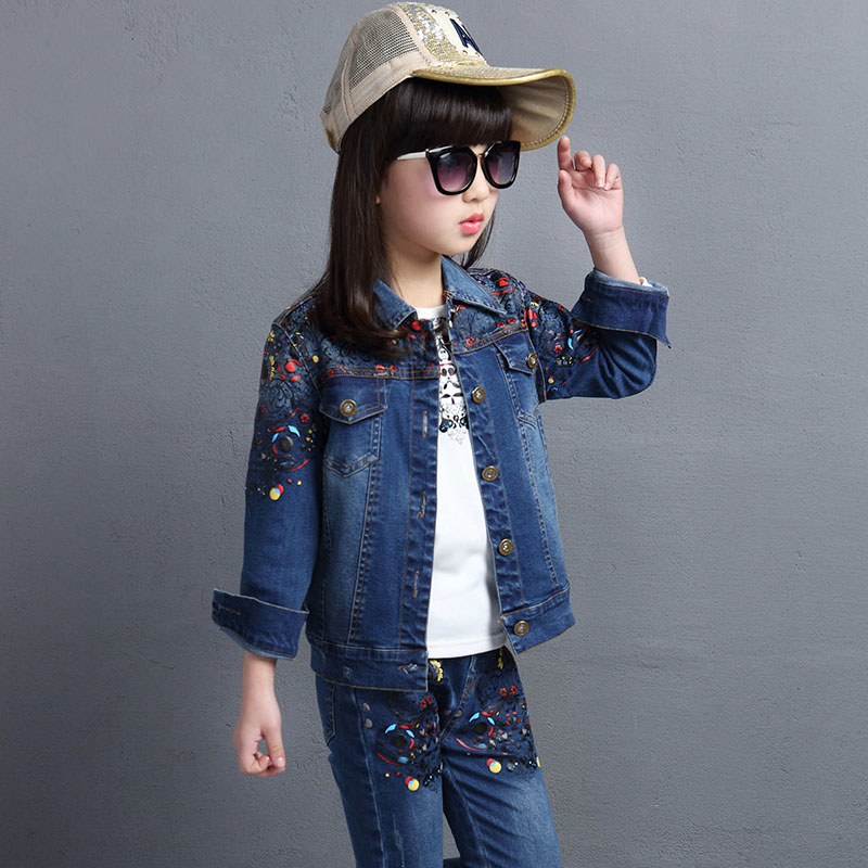 8f2da4822a 4 14 years Spring fall Style small flower Girls clothing set Denim jacket + t  shirt + Jean pant 3 piece set cowboy 2 pcs suit-in Clothing Sets from  Mother ...