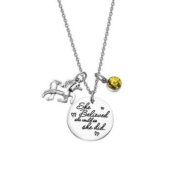 12 Birthstone Crystal Unicorn Pendant Necklace