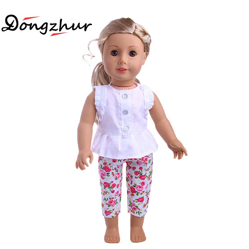 1 Set 18 American Girl Doll Clothes And Accessories White Shirt And Flower Trousers 18 inch American Girl dolls clothes ingbaby american girl dolls clothing 6 styles elegant color flower print long dress for 18 inch doll clothes accessories girl x 40