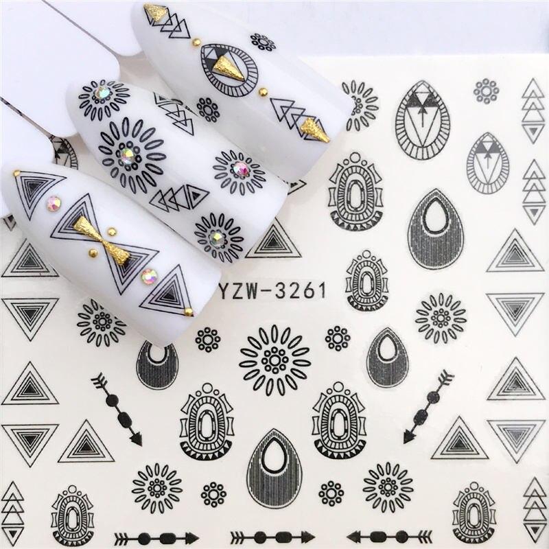 WUF 1 PC Espaço Preto/Flor De Fadas Projetos de Transferência de Água Etiqueta Decalques Da Arte Do Prego DIY Moda Wraps Dicas Manicure ferramentas