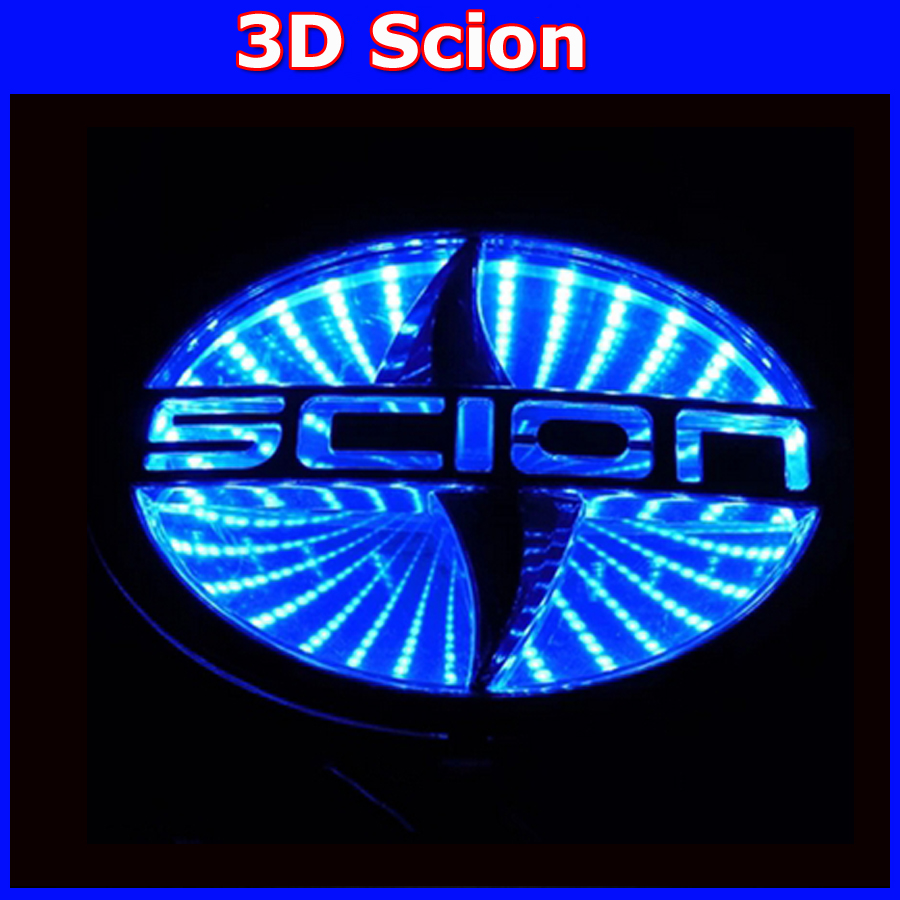 CAR Rear Front Badge Logo 3d light Brand Logo Lamp For scion led emblem logo light red blue white Free Shipping 1 set 4d car decoration logo lights led auto badge emblem lamp led waterproof blue red white for mercedesbenz
