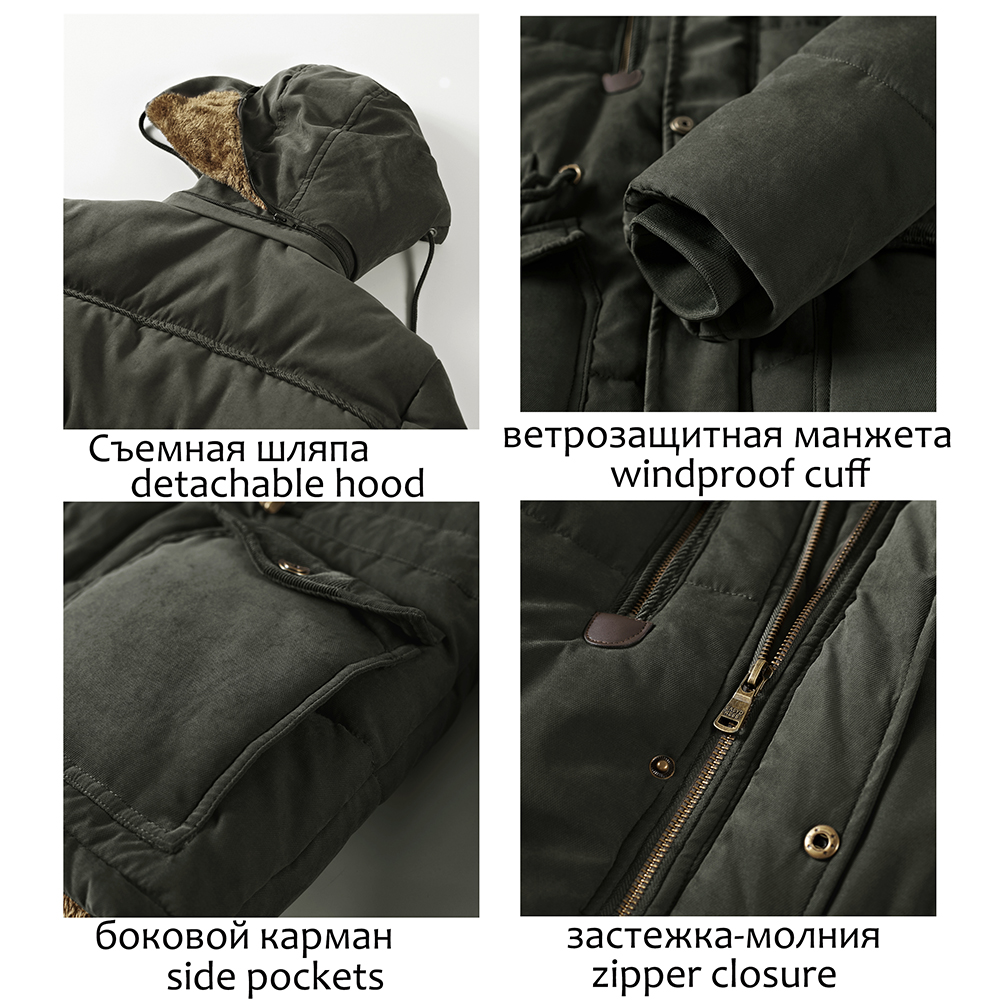 Image 4 - Men Winter Jacket 6XL 7XL 8XL Thick Warm Parka Fleece Fur Hooded Military Winter Coats Windbreaker Jackets Mens Dropshipping-in Parkas from Men's Clothing