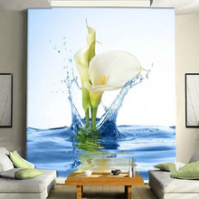 Custom Size Simple 3D Lily Flowers Water Drop Photo Wall Paper Entrance Mural for Living Room Bedroom Decor Non-woven Wallpaper