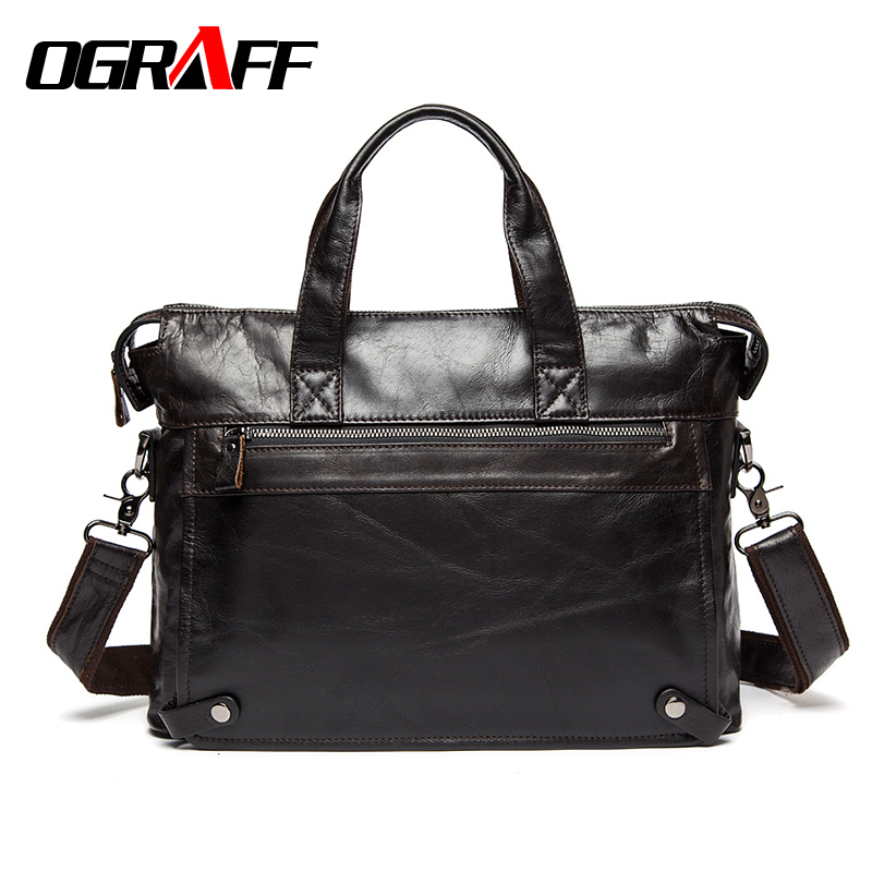 OGRAFF Men Handbags Briefcase Laptop Tote Bag Genuine Leather Bag Men Messenger Bags Business Leather Shoulder Crossbody Bag Men