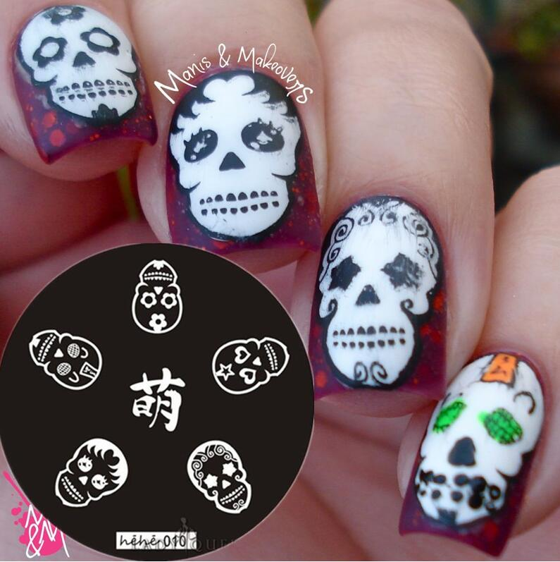 hot sale 2017 Nail Art Stamping Plate Template Skull Nail Art Stamp Template Image Plate hehe010 in Nail Art Templates from Beauty Health