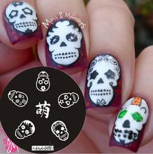 hot sale 2017 Nail Art Stamping Plate Template Skull Stamp Image hehe010