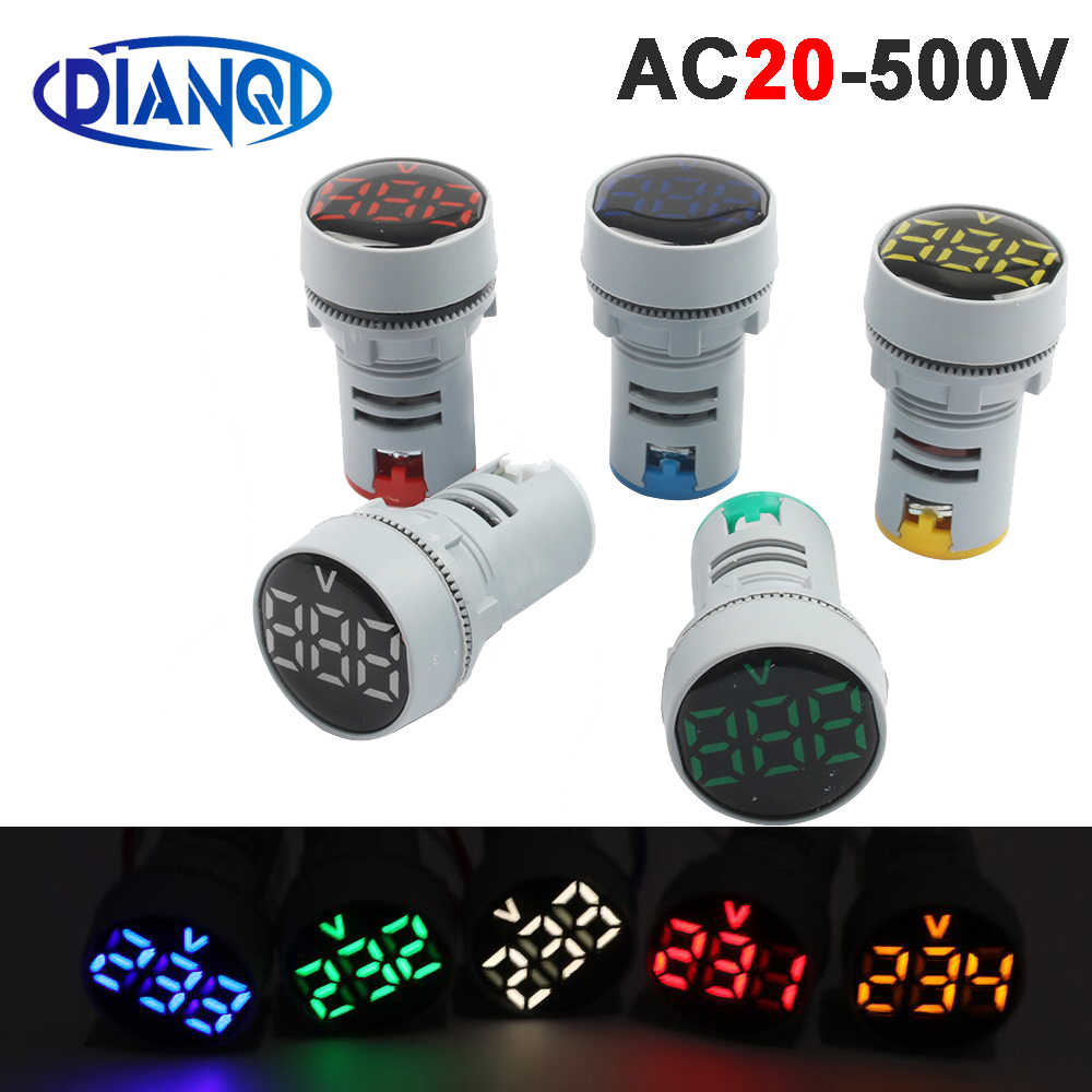 22mm AC20-500V LED Mini Round Voltmeter voltage meter indicator pilot light Red Yellow Green Blue White digital