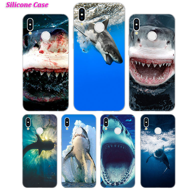 Silicone Phone Case Sharks in the Sea Fashion for Huawei P Smart 2019 Plus P30 P20 P10 P9 P8 Lite Mate 20 10 Pro Lite Nova 3i Co in Fitted Cases from Cellphones Telecommunications