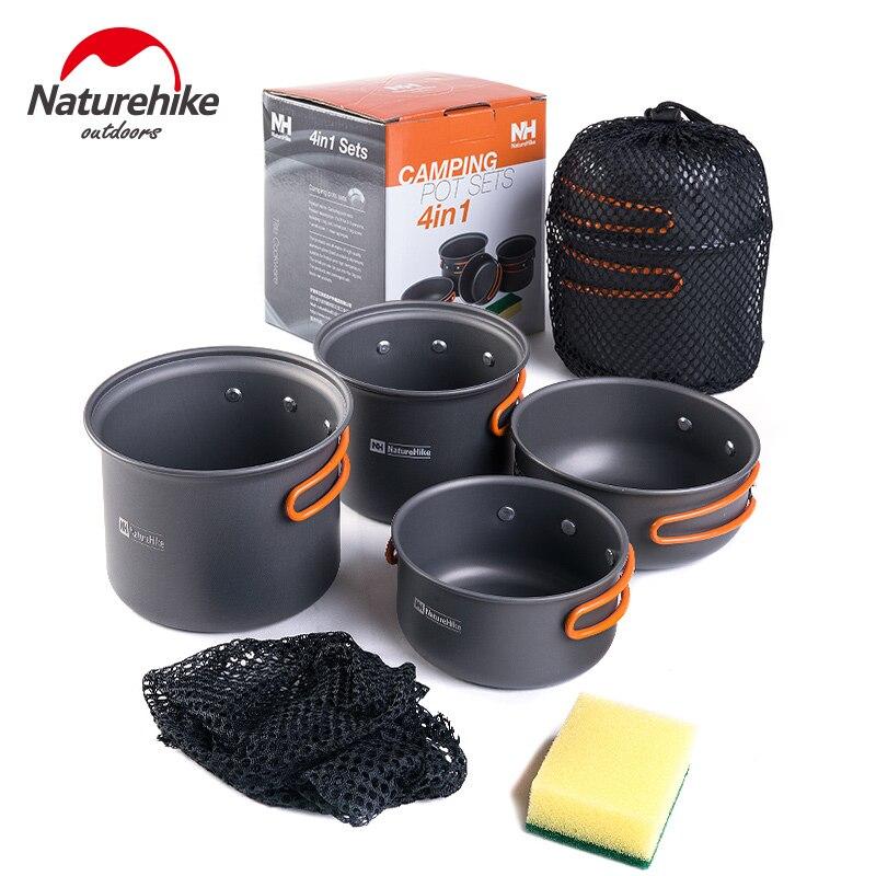 Le Pot de Camping d'ustensiles ultra-légers de 2-3 personnes de NH naturetrekking place le Pot et la casserole de pique-nique extérieurs portatifs de combinaison de quatre