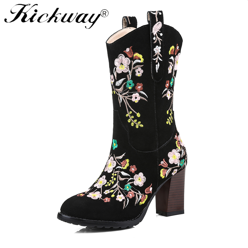 Kickway Embroidery Cowgirl Shoes Winter 2018 Comfortable Western Boots Cowboy Round Toe Embroidered Women Mid Calf Chunky Boots сотовый телефон irbis sp453