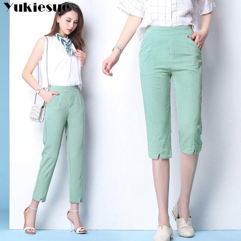 streetwear cotton linen women's pants capris with high waist wide leg pants for women trousers woman pants female Plus size