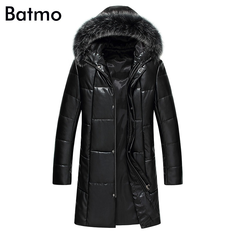 Batmo 2017 new arrival winter high quality PU 95% white duck down Raccoon fur collar hooded long jacket men,warm coat men 1716