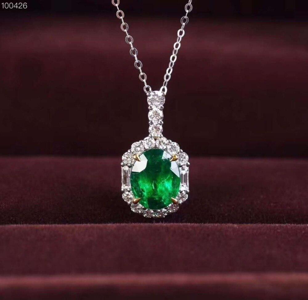Collier pendentif émeraude ovale en argent Sterling 925, bague, ensemble de bijoux en pierres précieuses naturelles 5*7mm
