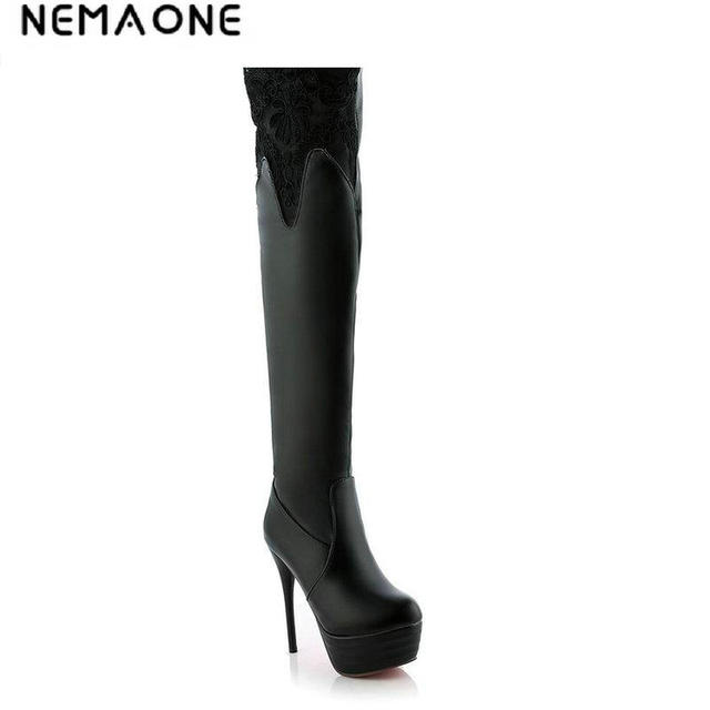 NEMAONE New winter fashion thin high-heeled women's sexy lace woman thigh boots over the knee high women boots large size 34-43