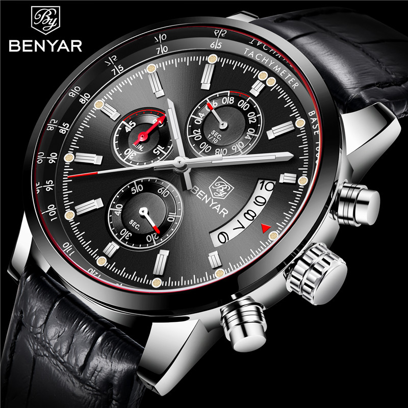 BENYAR Men's Watches 2019 NewLuxury Brand Quartz Leather Watch Men Fashion Chronograph Wristwatch Sport Clock Relogio Masculino