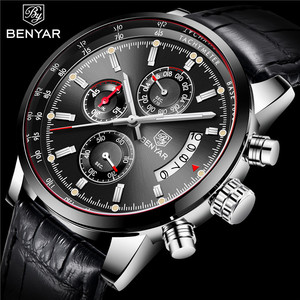 Image 1 - BENYAR Mens Watches 2019 NewLuxury Brand Quartz Leather Watch Men Fashion Chronograph Wristwatch Sport Clock Relogio Masculino