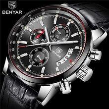 Benyar relógios masculinos 2019 nova marca de luxo relógio de quartzo couro masculino moda cronógrafo relógio de pulso do esporte relogio masculino