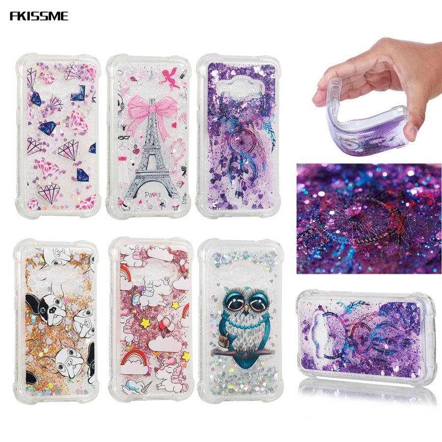 FKISSME for Samsung J1 2016 Heart Glitter Stars Dynamic Liquid Quicksand TPU Cover Phone Case for Samsung Galaxy J1 2016 J120 ...