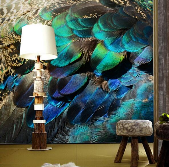 3d abstract wallpapers Southeast Asia Peacock feature Murals Walls photo print wallpaper 3 d wall paper papier for Living Room